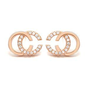 2019 al por mayor de la marca de la marca Doble letras Pendientes Pendientes de oído Pendiente de tono de oro para mujeres Hombres Joyería de fiesta de boda Regalo