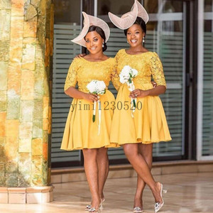 Yellow Short Bridesmaid Dresses Scoop Backless Half Sleeve Knee Length Lace Garden Country Wedding Guest Party Gowns Maid of Honor Dress