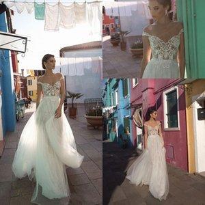 2019 sexy una línea de vestidos de novia ilusión fuera del hombro sin mangas sin respaldo vestido de novia apliques de encaje hasta el suelo vestidos de boda formales Dres