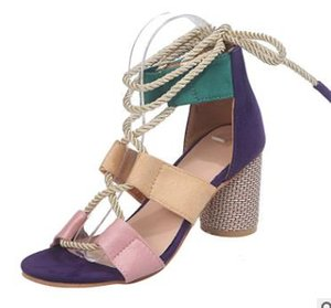 Ready To Ship 2020 Newset Popular Women's Shoes Color Block Thick Heel Lace Open Toe Color Sandals