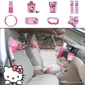 10pcs unit pink Automotive interior car cover set Auto Upholstery Accessories Universal Cartoon Steering wheel cover pillow