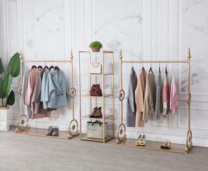 rack de exibição loja de roupas Tieyi para a roupa cremalheira de exposição da loja combinação de ouro especial das mulheres