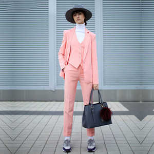 Three Pieces Slim Fit Mother of the Bride Suits Pink Notched Lapel Women's Business Outfit Satin Female Daily Clothes