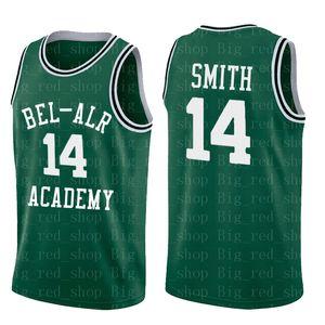 Mens # 14 Will Smith Bel-Air Academy Jersey # 25 Carlton Banken 100% genäht Basketball-Trikots Gelb hohe Qualität