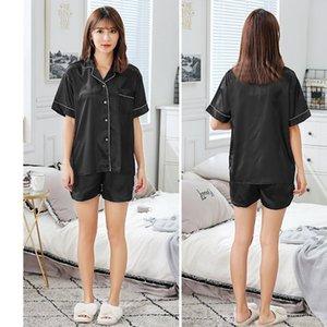 2019 neue Sommer-Kurzschluss-Hülsen-Silk Satin-Pyjama-Set Zweiteiler Frauen Nachtwäsche Sexy Nachtwäsche Damen Shorts Pyjama Homewear pijama