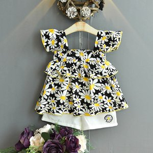 Summer 2020 floral girls suits sweet girls outfits princess Blouse shirt+shorts 2pcs set kids suits kids designer clothes girls B1811