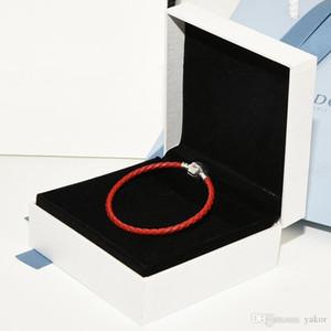 100 % 진짜 빨간색 가죽 핸드 체인 팔찌 팔찌 세트 Pandora 925에 대한 원래 상자 여성용 여자를위한 스털링 실버 팔찌