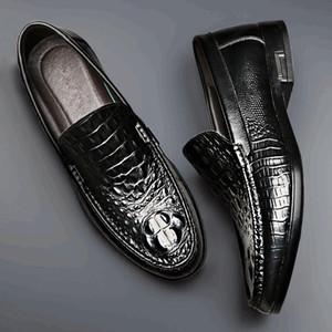 Fashion Crocodile Genuine Leather Men's Shoes Soft Moccasins Men Loafers Shoes Luxury BMen Flats New 2020 Autumn