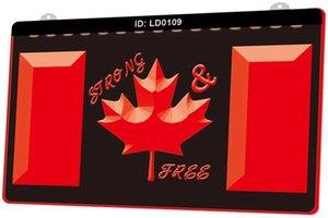 Segno LD0109 Canadian Flag Forte del nuovo 3D di luce LED incisione Personalizza on Demand multipla di colore