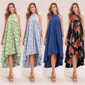 Floral Impresso Vestido Ladies Designer Irregular Vestidos de férias sem encosto vestido sem mangas 2020 Mulheres de Verão