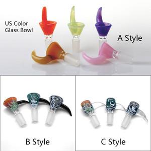 Beracky New US Color 14mm 18mm Tazón de vidrio masculino Accesorios para fumar tabaco Peluca Wag Bol de vidrio Pieza para vidrio Bongs de agua Plataformas Dab