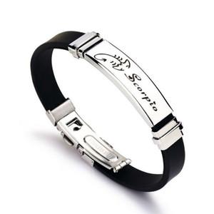Moda doce constelaciones de silicona pulsera de acero inoxidable Pareja mujeres de los amantes pulseras de los brazaletes regalos de joyería de los hombres