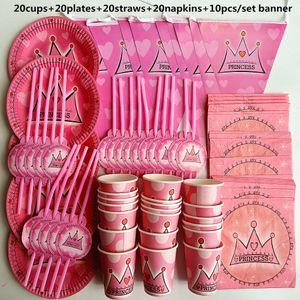 70pcs 20 pessoa feliz aniversário pano Decoração menina Princesa Crianças Baby Shower Partido Jogo da bandeira Tabela palhas Cup Placas Supplies