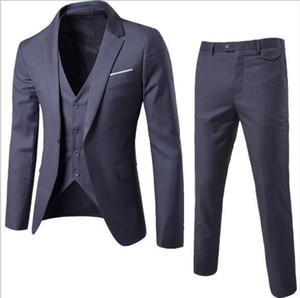 2019 haute qualité Business Leisure Suits 3 ensembles le meilleur homme de mariage du mariage un bouton boucle robe de costumes costume taille S-6XL