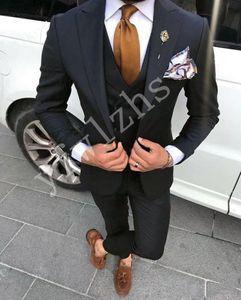 Custom-made Peak Lapel Groomsmen One Button Groom Tuxedos Men Suits Wedding Prom Dinner Best Man Blazer(Jacket+Pants+Tie+Vest) W184