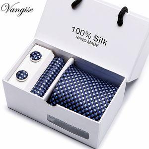 새로운 격자 무늬 남성 넥타이 세트 여분의 긴 크기 145cm * 8cm 넥타이 네이비 블루 페이즐리 실크 자카드 직물 넥타이 정장 결혼식 파티 C19011001