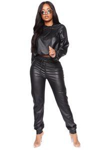 Новая зима Женщины наборы с капюшоном Полный Рукав Crop Top Брюки Костюм Два частей комплекта Повседневная Кожа PU Фитнес костюмы 2052