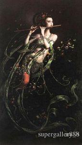 fée volante flûte beauté Dunhuang lecteur HD decores Imprimer peinture à l'huile d'art chinois Home Decor Wall Art sur toile P127 200315