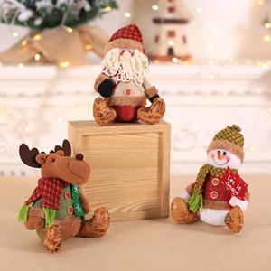 Novo Ornamento de Natal Boneca de Pelúcia Brinquedo Bonito Papai Noel Elk Urso Sentado Postura Boneca Janela Decoração de mesa Presente de Ano Novo Para As Crianças