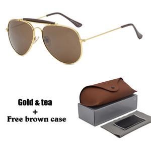 Sıcak Klasik kadınlar erkekler için güneş gözlüğü metal çerçeve çift Köprü güneş gözlükleri Steampunk Gözlüğü ücretsiz Perakende Ile 10 Renkler kılıfları ve kutu