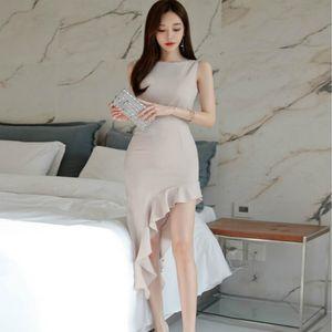 2020 Summer New Round Neck Sleeveless Casual Dress With Inclined Lotus Leaf Hem Irregular Dress Temperament Elegant Hip Skirt
