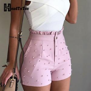 Femmes d'été Shorts taille haute dames perlage volantée Hem Shorts Pantalones Cortos De Mujer Y200509