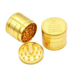 Novo padrão de moedor de metal com 4 camadas de padrão de moeda de ouro fumar acessório moedor de fumaça manual