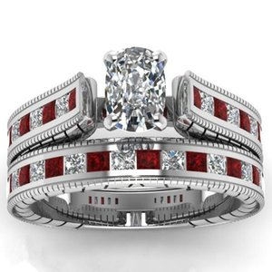 Charm Men Womens 2pcs Gemstone Zircon Wedding Engagement Ring Set Alloy Band Rings Jewelry Size 5~12