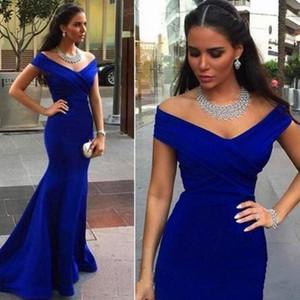 Royal Blue Off Hombro Vestidos de dama de honor largos con Mermaid 2021 Árabe Formal Wedding Gown Vestido de noche Hecho a medida