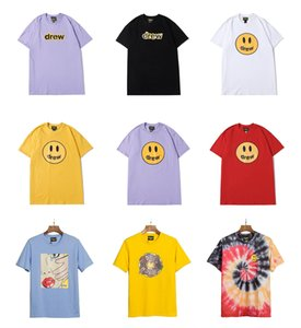 Justin Bieber Drew House T shirt Short Sleeve O-Neck Cotton Hip Hop Tee Men Women Smile Drew Tees Streetwear Tops Donuts Street Tshirt