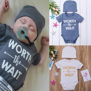 Soft Cotton Kids Boys Girls Clothes Newborn Bodysuits+Hat 2pcs Outfits Clothes Casual Wait