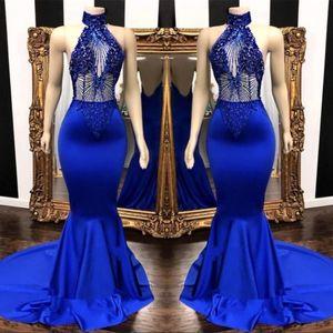 Sexy Royal Blue Prom Dresses 2019 Keyhole cuello apliques Beads largo Backless en cascada volantes sirena vestido de noche vestidos de fiesta para las mujeres