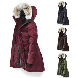 Канада Женщины Rossclair Parka высокого качества Длинный с капюшоном Волк меха Мода теплый пуховик Открытый теплое пальто