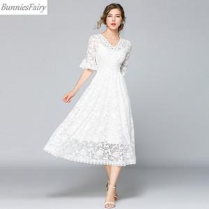 BunniesFairy 2019 Yaz Yeni Kadın Paris Zarif Prenses Tatlı Tarzı Beyaz Çiçek Tığ Uzun Sarkaç Midi Elbise V Yaka Parti