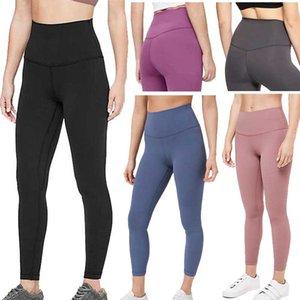 LU-32 cor sólida Mulheres yoga calças de cintura alta Gym Sports Wear Leggings Elastic Senhora da aptidão geral completa calças justas Workout 2020 Novo tamanho XS-XL