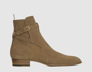 Hot Sale 2020 Homens Qualidade SLP Wyatt 30 Jodhpur Botas No Cigar Suede Ankle Strap metal Buckle Botas Sapatos