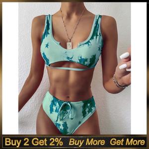 Eillysevens Gradient Women Swimwer Fashion Print Push-up Padded Bra Bikini Set Swimsuit 2020 2 Piece Set Women Bikinis