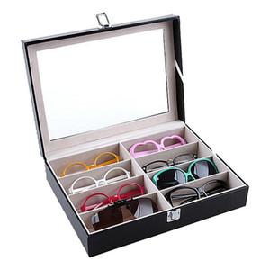 Occhiali da sole di visualizzazione in pelle per occhiali Storage Box Con La Finestra imitazione di caso dell'organizzatore di immagazzinaggio del collettore 8 Slot occhiali da sole scatola di immagazzinaggio