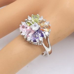 Multicolor Zircon Silver Color Ring for Women Bridal Weeding Party Jewelry Birthday Gift