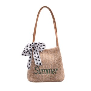 Women's shoulder bag summer small fresh casual new straw texture woven bucket bag scarf decorative handbag