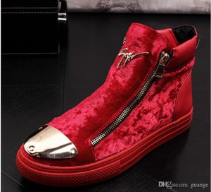 2019 High Quality Fashion Men High Top British Style velvet loafers Shoes Men Causal Luxury Shoes Black red blue Bottom rubber Shoes BM335