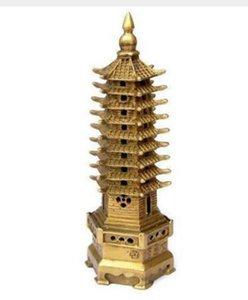 NUEVO + Pagoda china R en Tower Bronze Statue Decoration 9-Tier