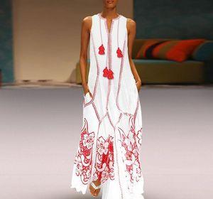 CALOFE White Summer Beach Dress Women Plus Size 2020 Fashion Red Cotton Boho Dress Sleeveless Printed Long Maxi