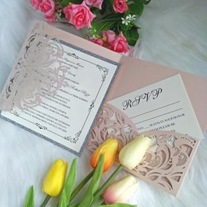 Hellrosa Pocketfold Laser geschnitten Hochzeitseinladung mit silbernem Boden, RSVP-Karte und Umschlag DIY Laden Sie für Los 15-Anos