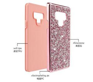 Diseñador de lujo Cajas del teléfono Rhinestone Diamond Bling 2in1 Funda para iPhone XR XS MAX X 8 7 6 Samsung Note 9