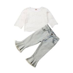 Emmababy Bebek Bebek Kız Giyim Openwork Dantel Kazak Üst Denim Flared Pantolon Kıyafet