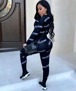 Los diseñadores del chándal de las mujeres de lujo chándales para mujer Marca otoño Imprimir chándales del basculador adapta a la chaqueta + pantalones Conjuntos deportivos Traje