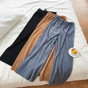 여성 바지를 높이 허리 넓은 다리 바지에게 새로운 자금 여름 바지의 부드러운 바람을 드레이프 캐주얼 순수한 색상 탄성 허리