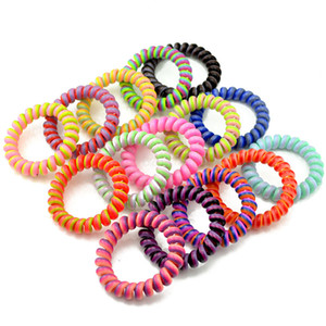 Telephone Wire Cord Gum Hair Tie Girls Elastic Hair Band Ring Rope Candy Color Bracelet Stretchy Scrunchy LJJA2700-14