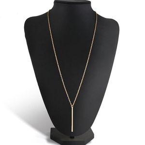 Lnrrabc 1 قطعة حار الأزياء سبيكة النحاس وصلة سلسلة طويلة شريط قلادة المرأة سيدة فتاة قلادة قلادة ذهبية فضي